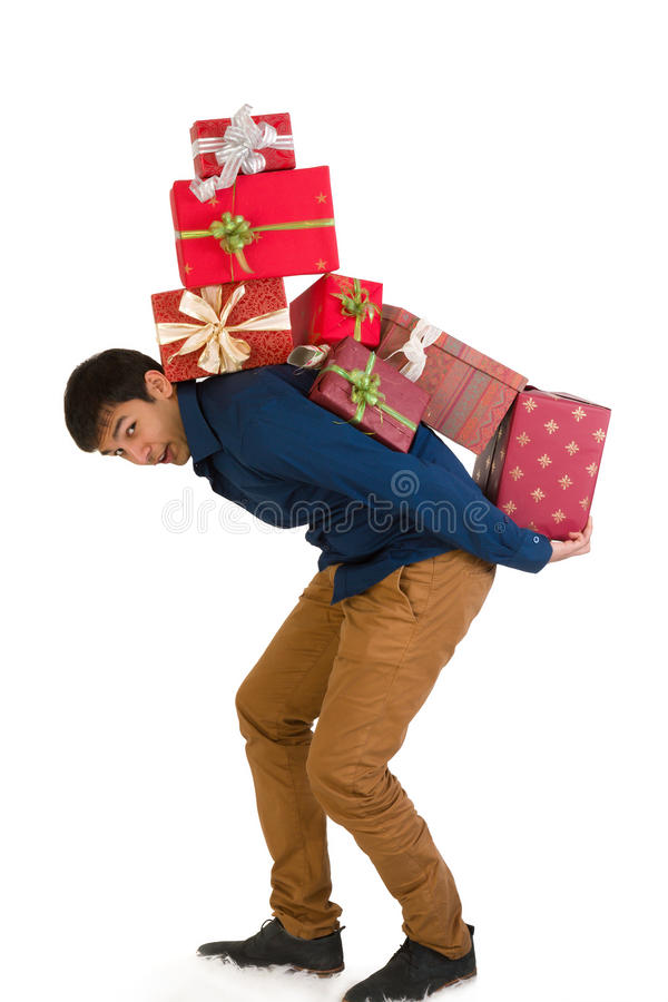 Carrying presents royalty free stock image
