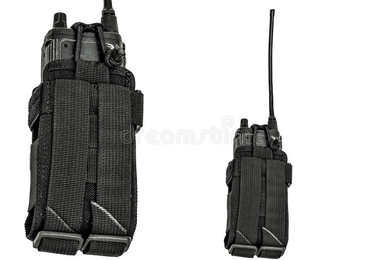 Carrying weapons case: military tactical cartridge belt for pouch made from high-tech fabric with quick connection system, close royalty free stock image