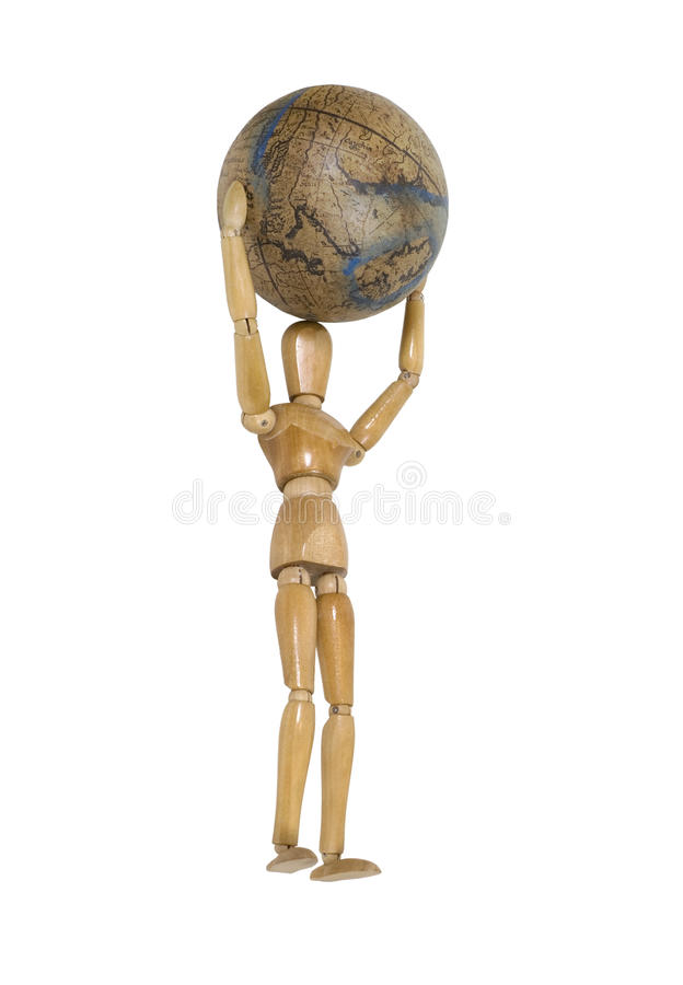 Carrying the World on his shoulders. Wooden model carrying the world on his shoulders - path included stock images