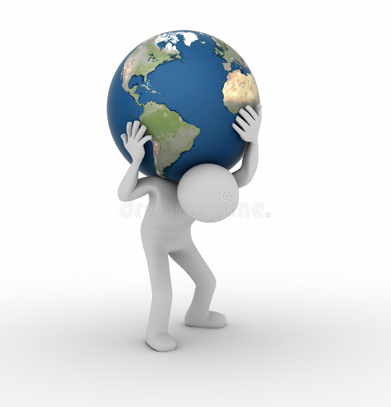 Carrying the World like Atlas. 3D render of a figure holding the world on shoulders stock illustration