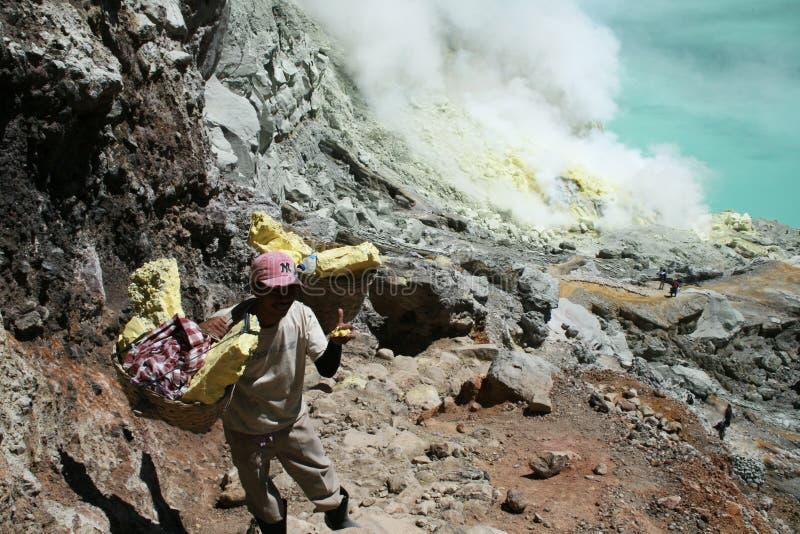 Carryng sulphur stock photo