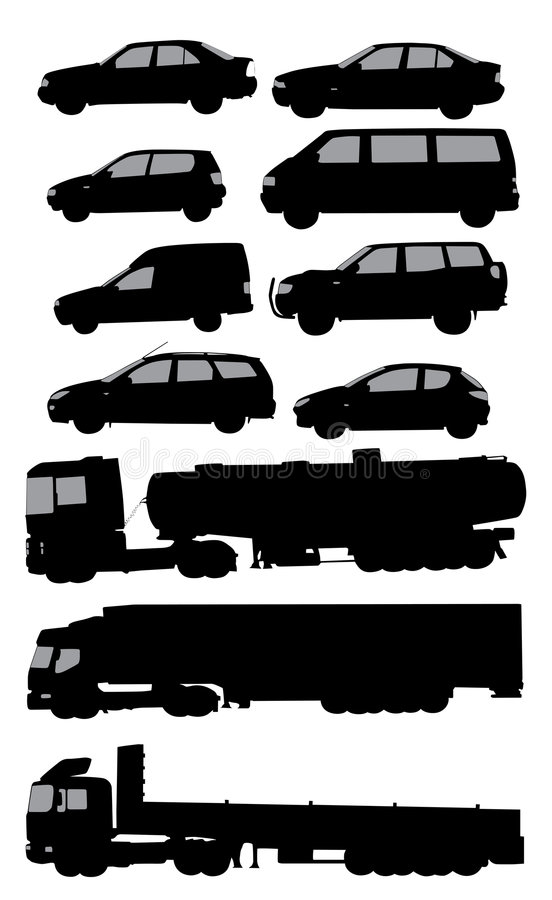 CARS. Vectorised various means of transportation royalty free illustration