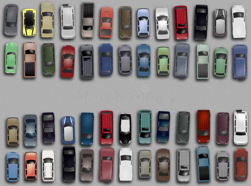 Cars from above. An illustration of different cars on a parking lot seen from above stock illustration