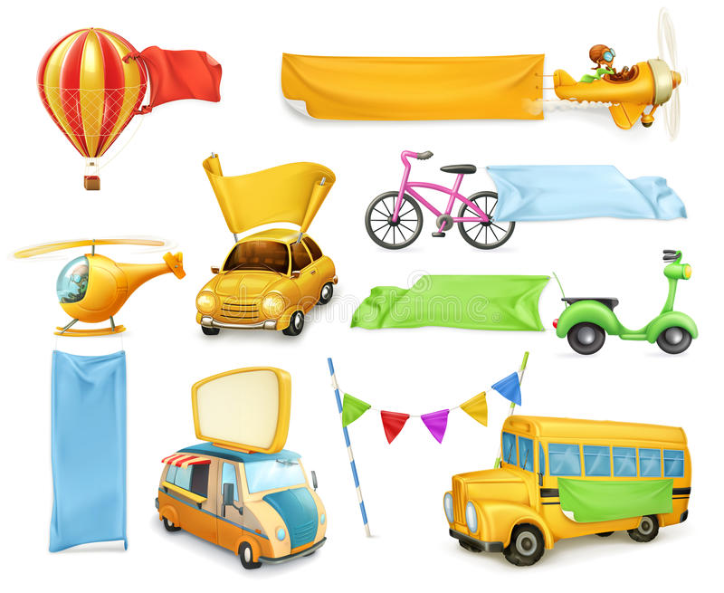 Cars and airplanes with banners and flags royalty free illustration