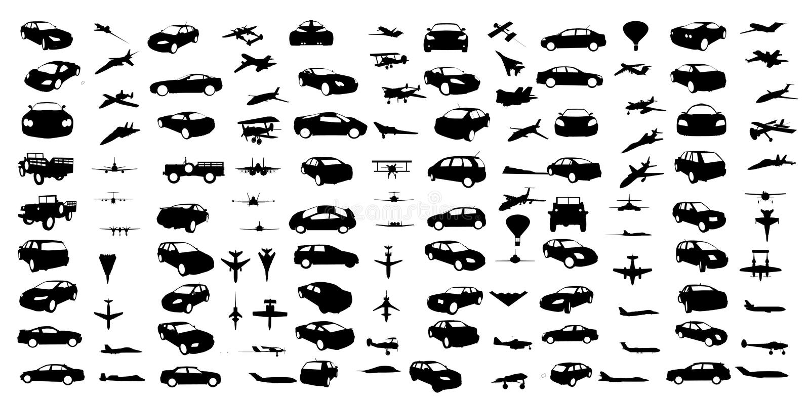Cars and airplanes shapes stock illustration