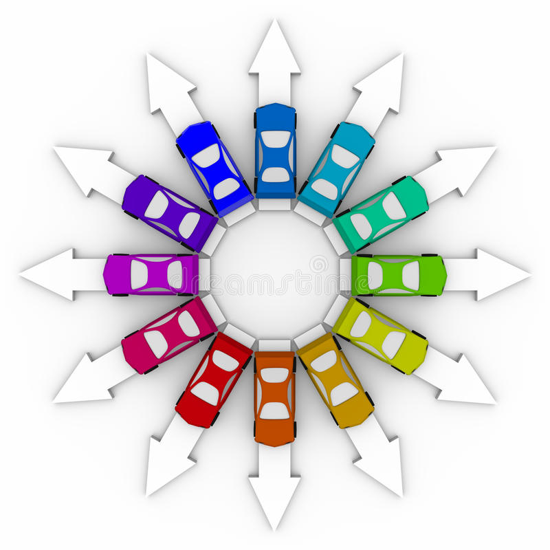 Cars on Arrows - Comparison Shopping. Many colored cars representing many choices in vehicles vector illustration