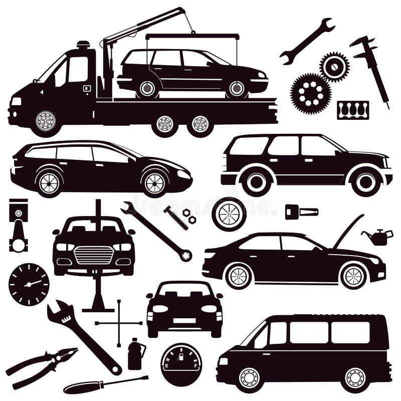 Cars and car repair tools stock illustration