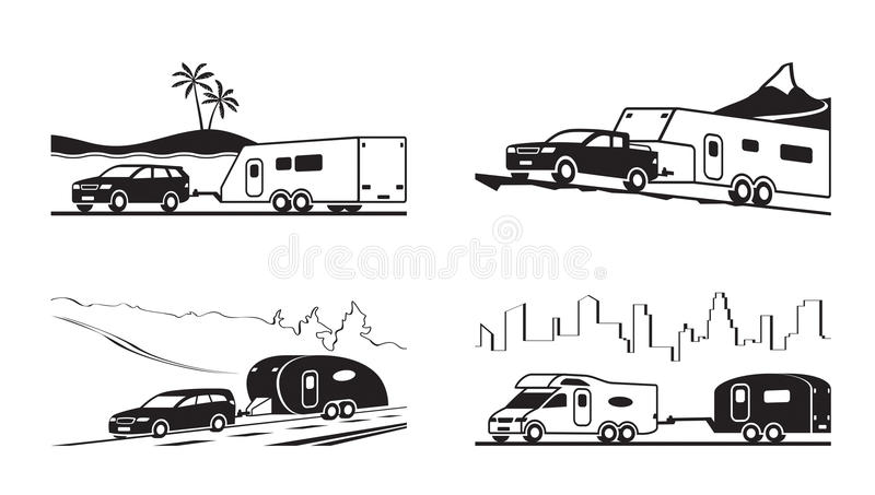 Cars with caravans and camper vector illustration