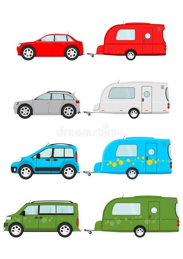 Cars and caravans vector illustration