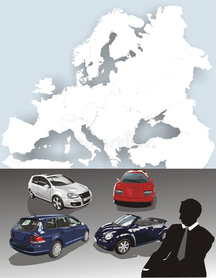 Cars. The card of Europe royalty free stock image