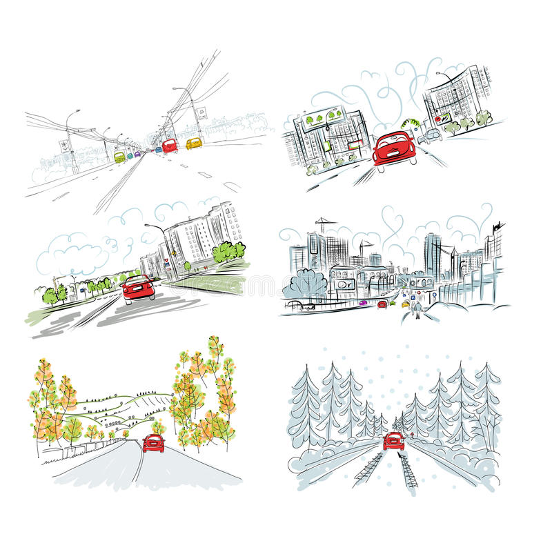 Download Cars On City Road, Set Of Hand Drawn Illustrations Stock Vector - Image: 33140932