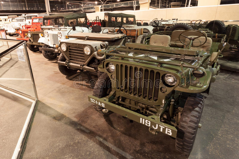 Cars Collection at Emirates Auto Museum. ABU DHABI - DEC 22: Jeep Willys Collection at the Emirates National Auto Museum in Abu Dhabi. December 22, 2014 in Abu stock image
