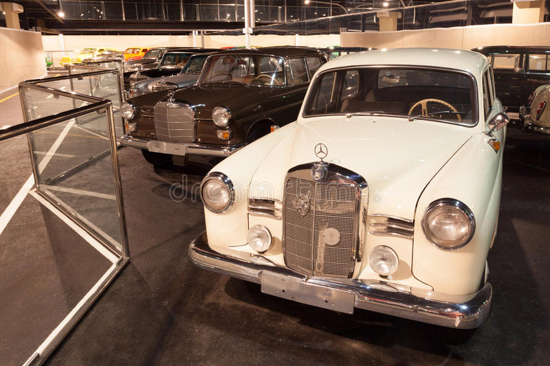 Cars Collection at Emirates Auto Museum. ABU DHABI - DEC 22: Old Mercedes Benz Cars Collection at the Emirates National Auto Museum in Abu Dhabi. December 22 royalty free stock photo