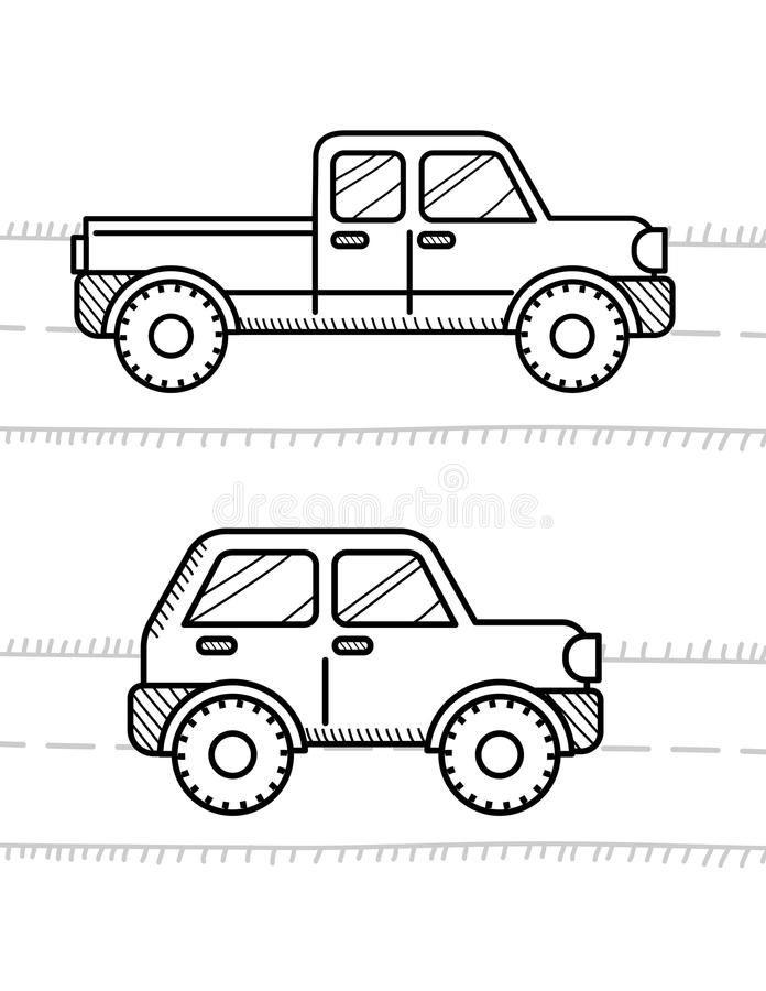 Cars Coloring Book For Kids. Pickup, 4WD Stock Vector - Illustration ...