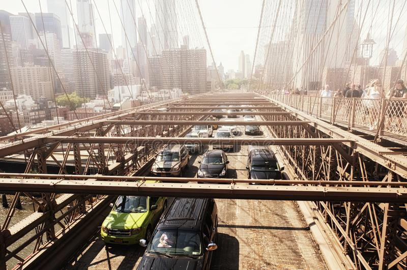 Manhattan bridge new york city skyline fog royalty free stock photos