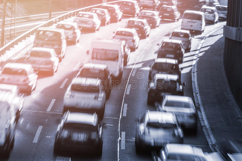 Cars in a congestion. On highway stock image
