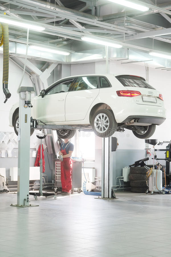Cars in a dealer repair station in Moscow, Russia stock image