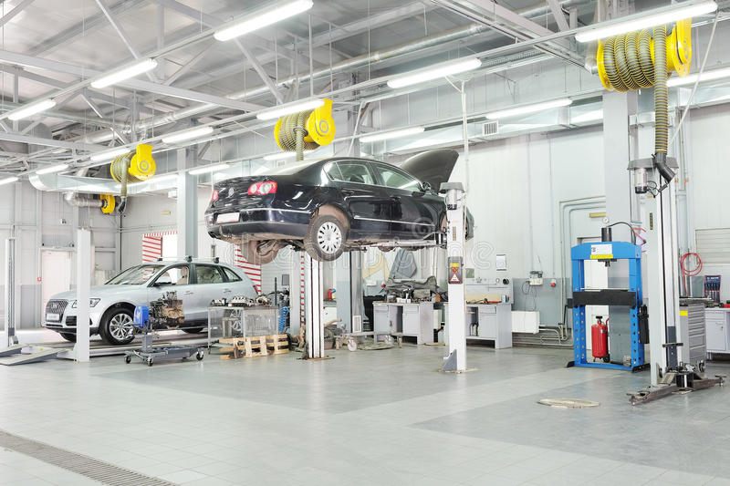 Cars in a dealer repair station in Moscow, Russia royalty free stock photos