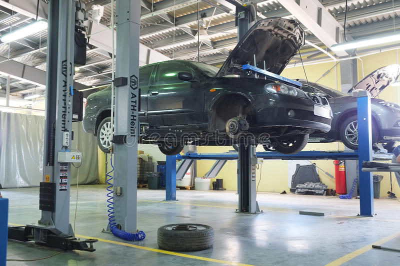 Cars in a dealer repair station stock photography