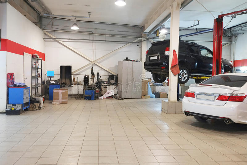 Cars in a dealer repair station stock images