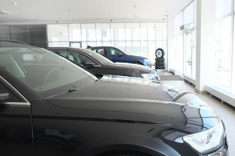 Cars in a dealer's showroom in Moscow, Russia. Moscow, Russia, May, 8, 2015: image of a Cars in a dealer's showroom in Moscow, Russia stock photography