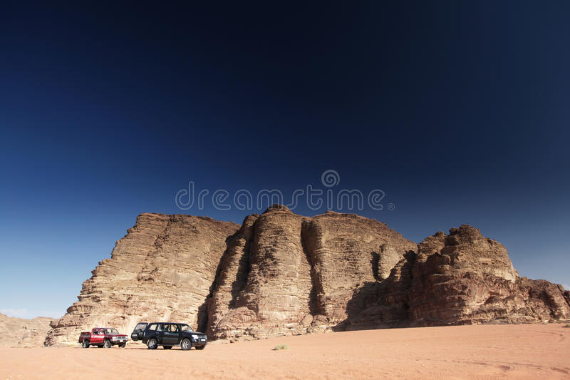 Cars in the desert royalty free stock image