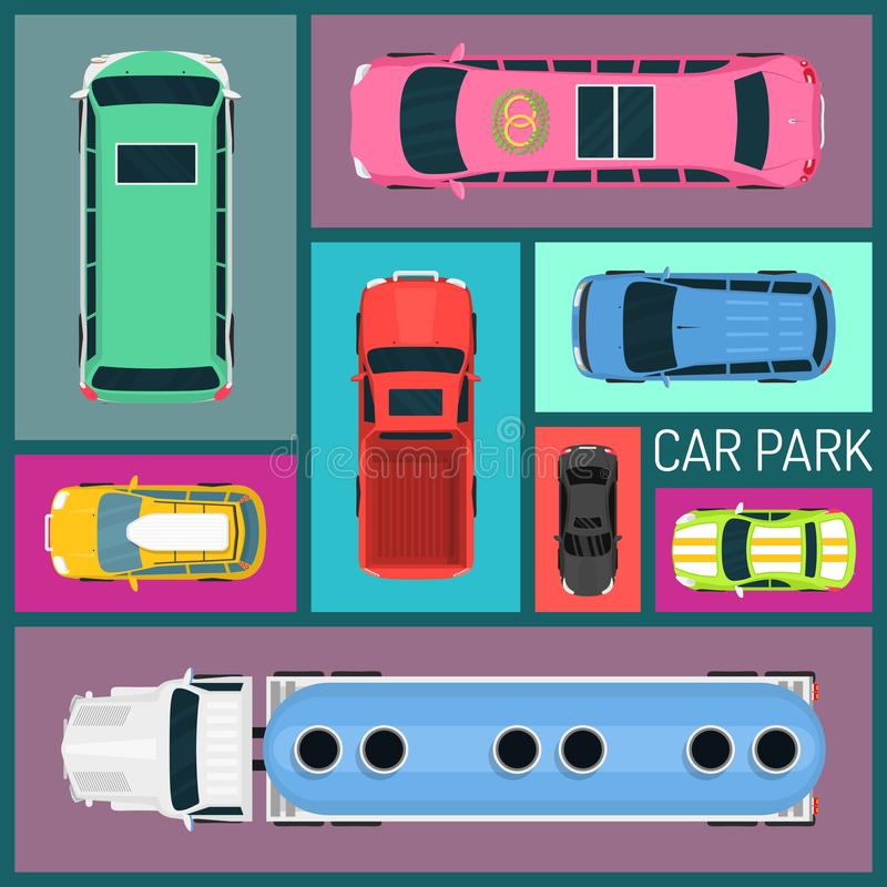 Cars of different size and color seamless pattern vector illustration. Car parking. Top view of parking zone with a royalty free illustration