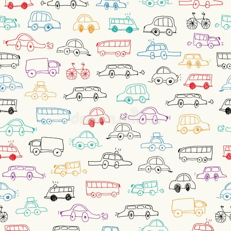 Cars doodles seamless stock illustration