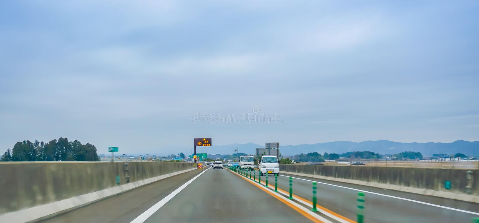 Cars is driving fast on Tokyo expressway stock images