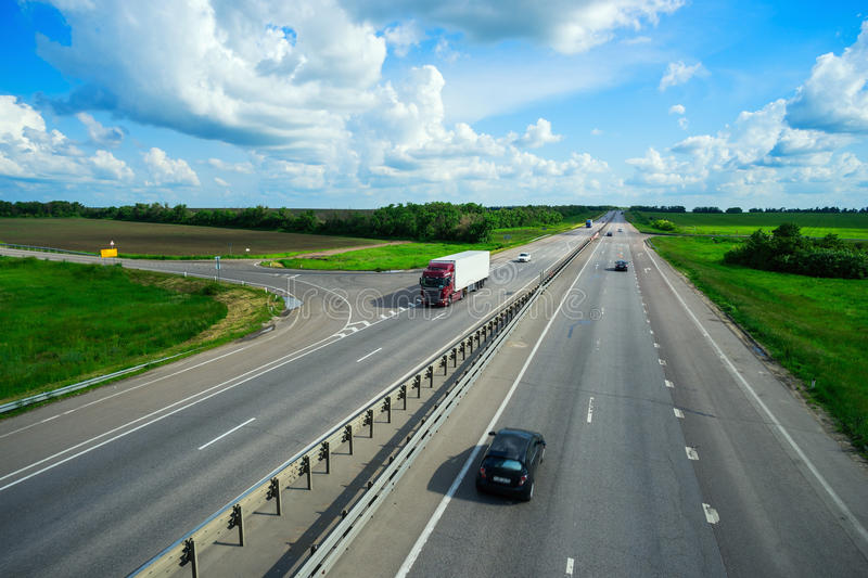 Cars driving on the road stock photography