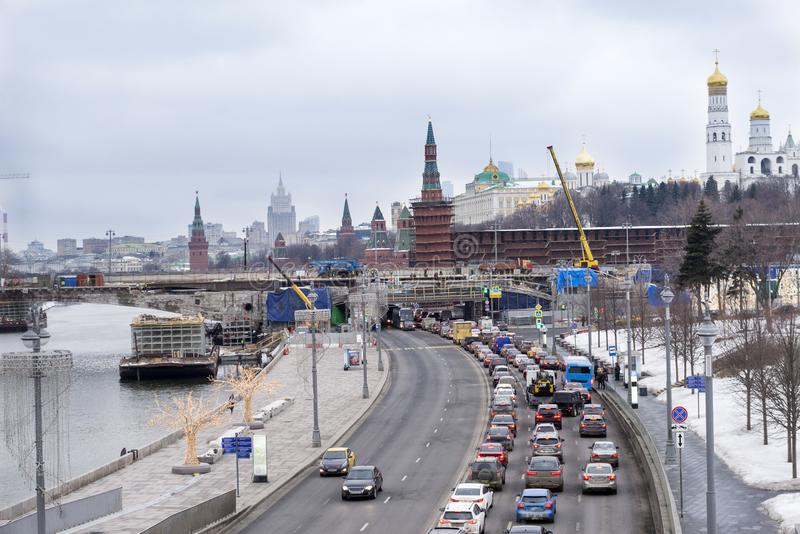 Cars on the embankment of the Moscow river, Moscow Kremlin, city view, Moscow in winter stock image