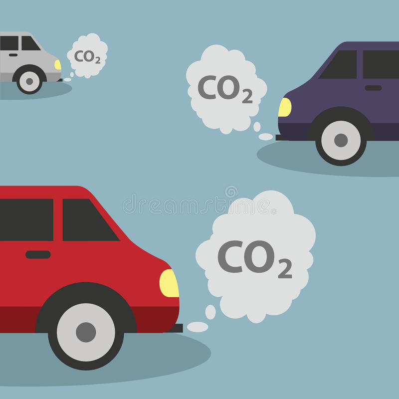 Cars emits CO2, carbon dioxide. Concept of smog pollutant damage contamination garbage combustion products. Vector royalty free illustration