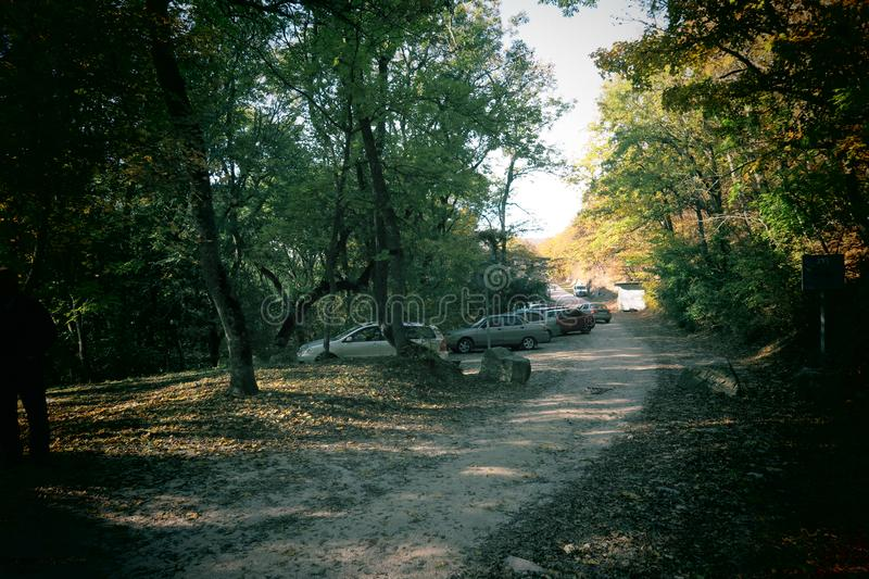 The cars in the forest of the Surp Khach Monastery, Crimea stock photos