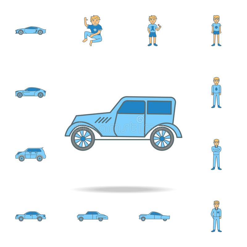 Cars of the forties color outline icon. One of the collection icons for websites, web design. On white background stock illustration