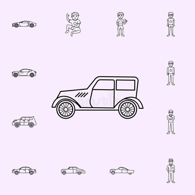 Cars of the forties icon. Generation icons universal set for web and mobile. On color background stock illustration