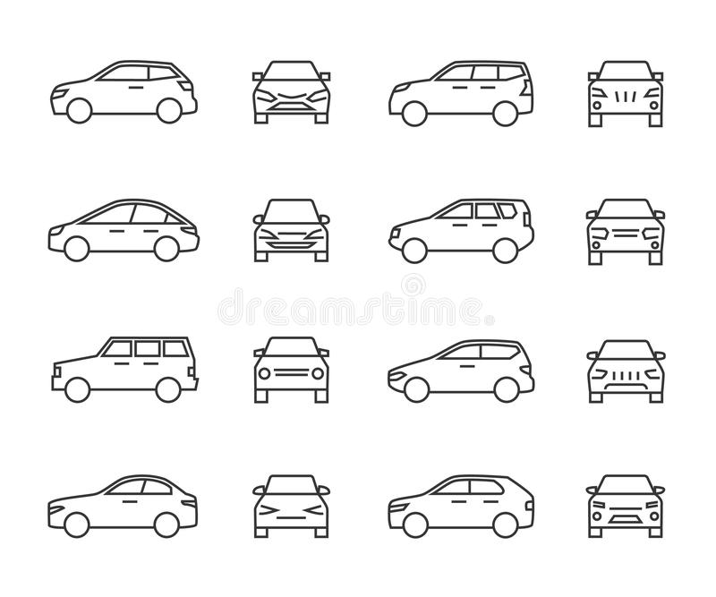 Cars front and side view line signs, auto symbols. Vehicle outline vector icons isolated on white background vector illustration