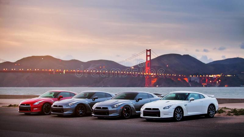 Cars at golden gate stock images