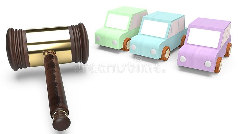 Cars and hammer justice for Car auction concept 3d rendering stock illustration