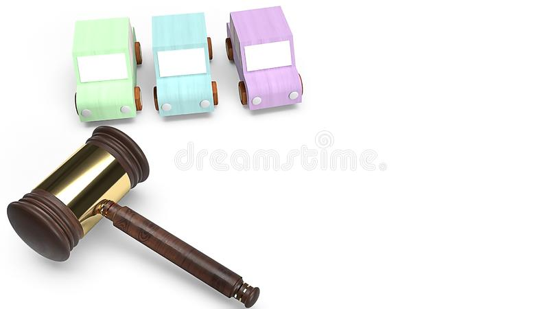 Cars and hammer justice for Car auction concept 3d rendering royalty free illustration