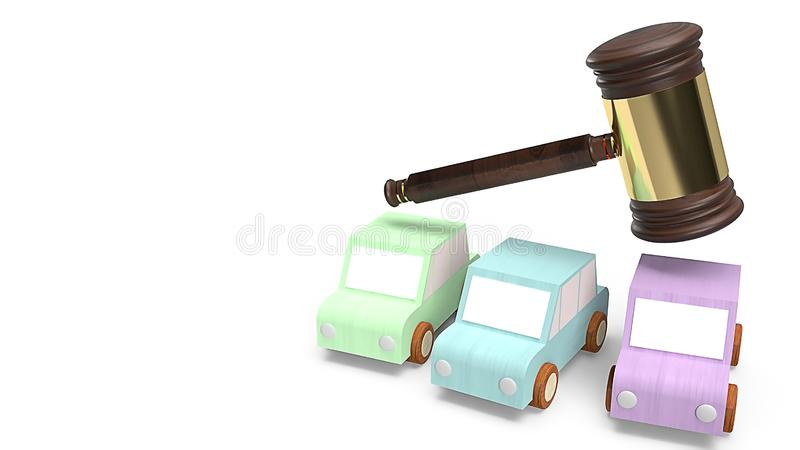Cars and hammer justice for Car auction concept 3d rendering. The cars and hammer justice for Car auction concept 3d rendering vector illustration