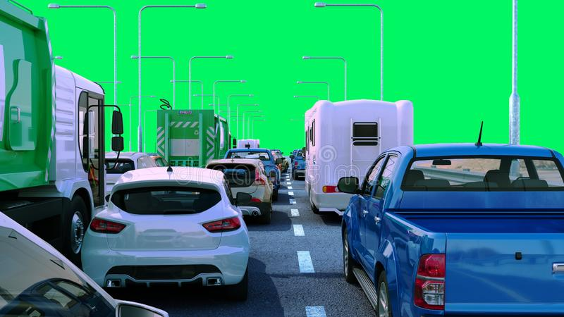 Cars on highway in traffic jam 3d render green screen. Cars on highway in traffic jam 3d render green royalty free illustration