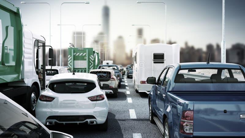 Cars on highway in traffic jam 3d render sity landscape. Cars on highway in traffic jam 3d render sity stock illustration
