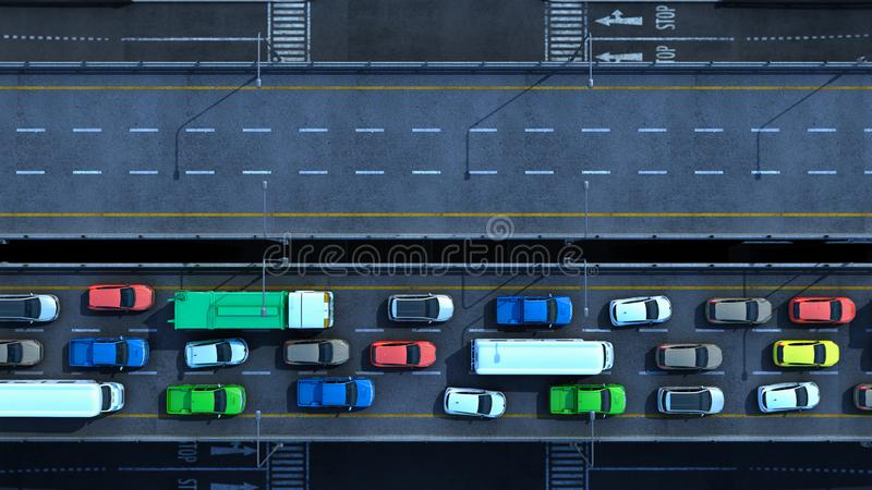 Cars on highway in traffic jam 3d render from top. Cars on highway in traffic jam 3d render from stock illustration