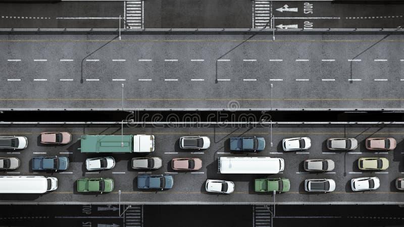Cars on highway in traffic jam 3d render from top. Cars on highway in traffic jam 3d render from vector illustration