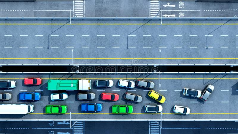 Cars on highway in traffic jam 3d render from top royalty free illustration