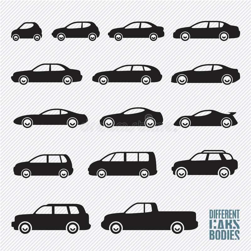 Cars icons set, car types. Cars icons set, different car types vector illustration