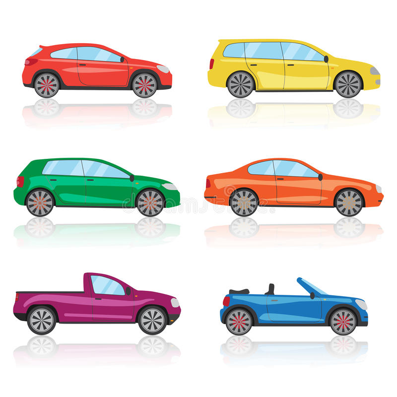 Cars Icons Set. 6 Different Colorful 3d Sports Car Icon