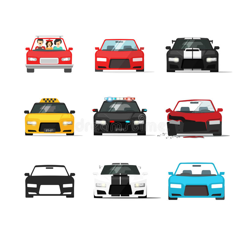 Cars icons set vector, auto collection front view, flat style royalty free illustration