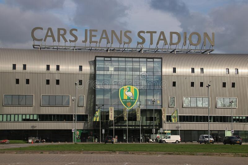Cars jeans football stadium of ADO Den Haag in the hague the Netherlands royalty free stock photography