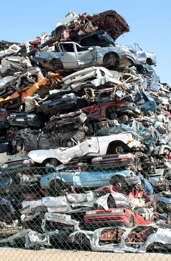 Cars junkyard. Old cars in the junkyard stock photos